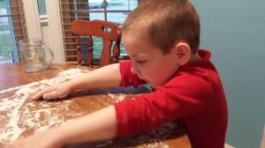 spreading the flour
